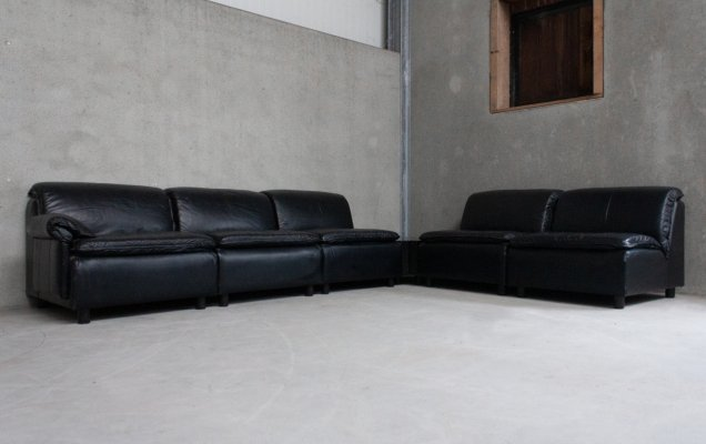 Modular Sofa in Black Leather with Two Side Tables