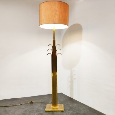 Vintage brass & glass floor lamp, 1970s