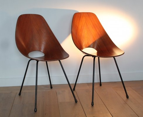 Pair of Medea dining chairs by Vittorio Nobili for Fratelli Tagliabue, 1950s