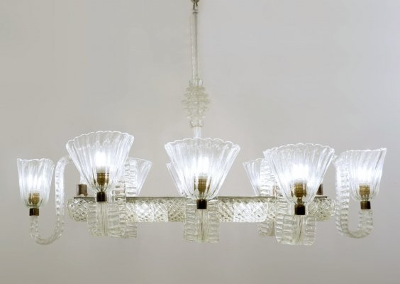 Ercole Barovier Eight Arms Chandelier, Italy 1940s