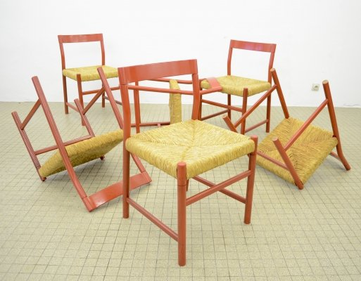 Set of 6 midcentury oak & wicker dining chairs in red, 1960s