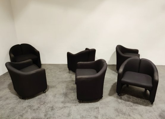 Set of 6 Armchairs by Eugenio Gerlio for Tecno, 1980s