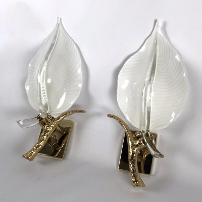 Pair of Mid-century Italian Gilt & Murano Glass Wall lamps by Franco Luce, 1970s