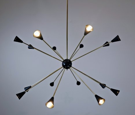 Large Sputnik Ceiling Light in Brass And Metal, 1960s