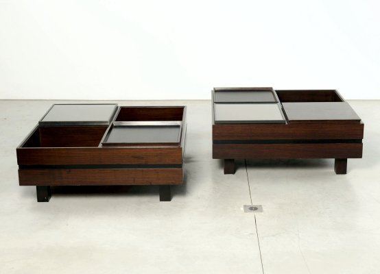 Carlo Hauner 2 low coffee tables with removable trays for Forma