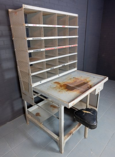 Old French mail sorting cabinet, table & stool in one