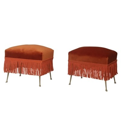 Pair of Ottoman Stools in Orange Velvet & Brass