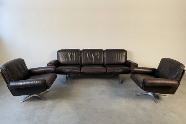 Vintage brown leather DS31 sofa & chairs set by De Sede, 1970s