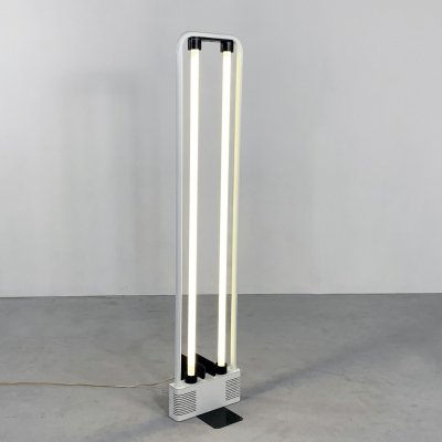 White Fluorescent Floor Lamp by Gian N. Gigante for Zerbetto, 1980s