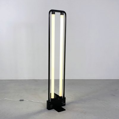 Black Fluorescent Floor Lamp by Gian N. Gigante for Zerbetto, 1980s