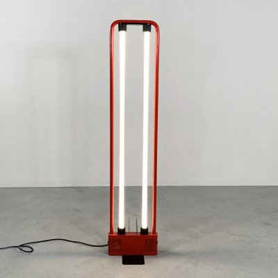 Red Fluorescent Floor Lamp by Gian N. Gigante for Zerbetto, 1980s
