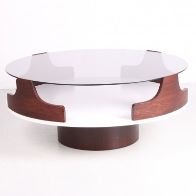 Spage Age Coffee table with smoked glass & teak, 1960s