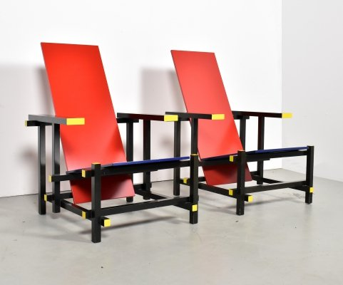 Pair of Red & Blue Chairs by Gerrit Rietveld for Cassina, 1990s