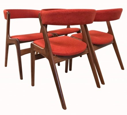 Four Kai Kristiansen Teak Fire Chairs, 1960s