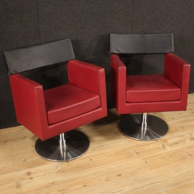 Pair of 20th Century Red & Black Faux Leather Italian Design Armchairs, 1970