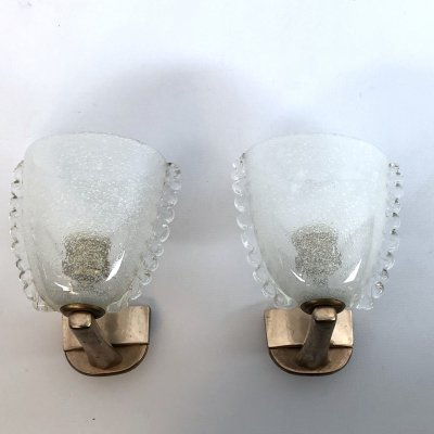 Pair of Mid-century Italian Murano Pulegoso glass wall lamps by Venini, 1940s