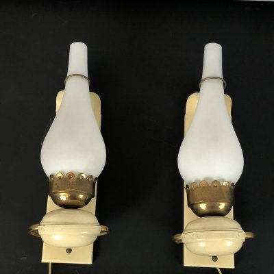 Pair of Vintage Italian brass, lacquer & opaline glass sconces, 1950s