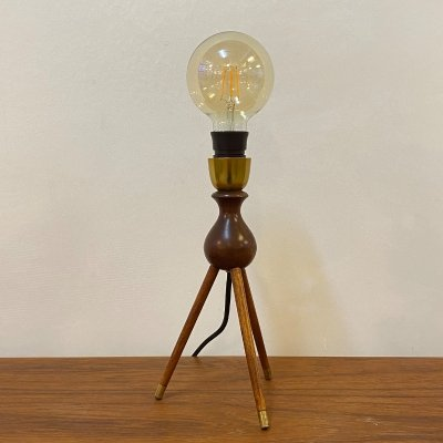 Teak tripod table lamp with brass details by Severin Hansen, 1960s