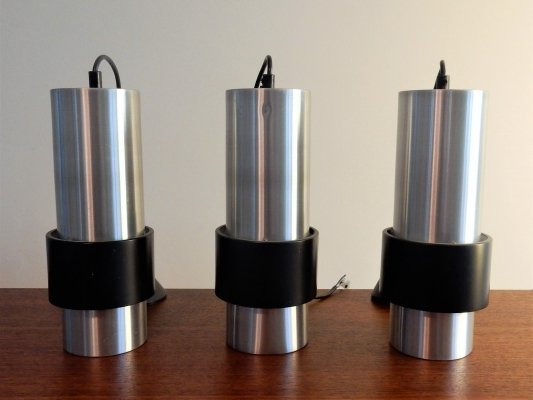 Set of 3 aluminum & black pendant lamps, 1960's