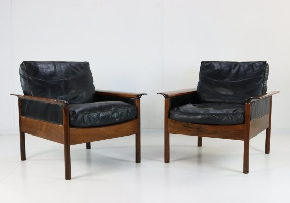 Pair of leather & rosewood lounge chairs by Hans Olsen, 1960s