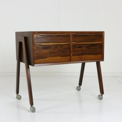 Danish design rosewood sewing trolley, 1960s