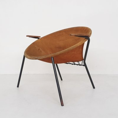 Hans Olsen suede 'Balloon' chair for Lea design, Denmark 1950's