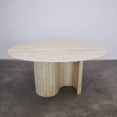 Oval travertin dining table, 1980s