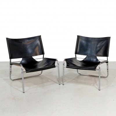 Pair of black leather & chrome lounge chairs, 1970s
