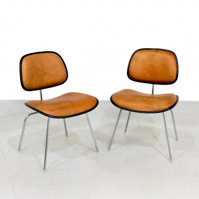 Pair of Eames DCM chairs in leather, 1970s