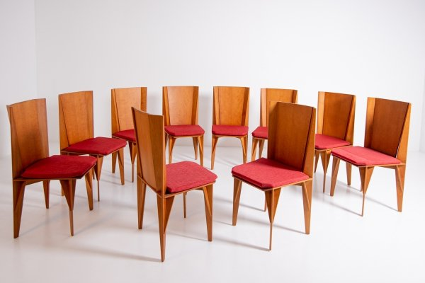 Set of 10 Italian 'Matrix' chairs by Adriano & Paolo Suman for Giorgetti, 1984