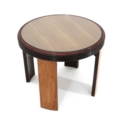 Round coffee table with grissinato edge & glass top, 1930s