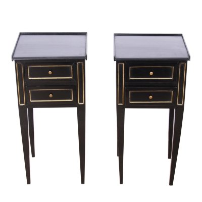 Pair of Early 20th Century Ebonised Nightstands