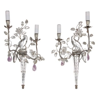 Pair of Maison Baguès Parrot & Torch Wall Sconces