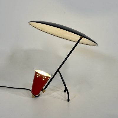 Table Lamp in metal Black & Red with rotatable Lampshade, 1960s