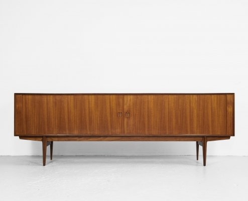 Midcentury Danish teak sideboard with tambour doors by Rosengren Hansen, 1960s