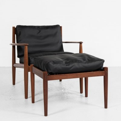 Midcentury Danish lounge chair + ottoman in teak by Grete Jalk for France & Søn
