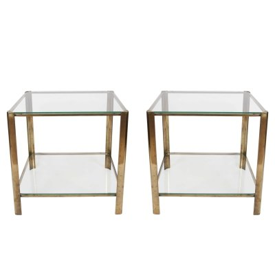 Pair of Jacques Quinet Square Side Tables