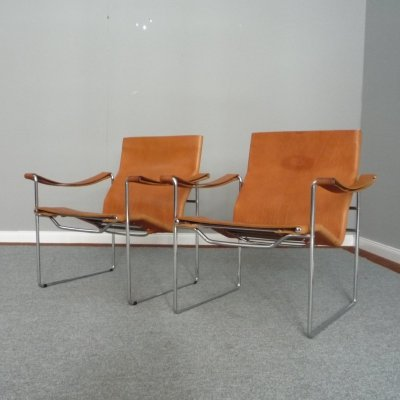 Swiss Leather & Tubular Steel Armchairs by Fritz Haller for Heinrich Pfalzberger