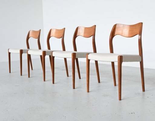 Niels Otto Moller model 71 dining chairs, Denmark 1951