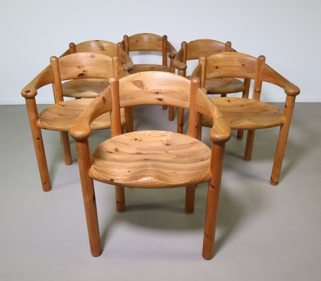 Set of 6 Solid pinewood dining chairs by Rainer Daumiller, 1970s