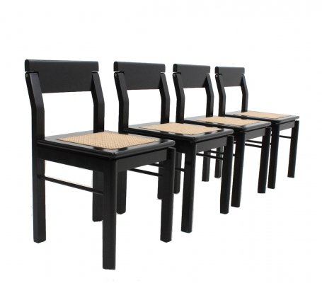 Italian black lacquered wood & Vienna straw chairs, 1970s