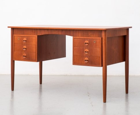 Danish modern double sided teak desk, 1960s
