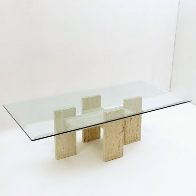 Brutalist Travertine Coffee Table by Willy Ballez, 1970s