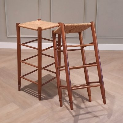 Set of 2 Wood & Rush Barstools, 1960s