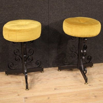 Pair of 20th Century Painted Iron & Velvet Italian Design Stools, 1970