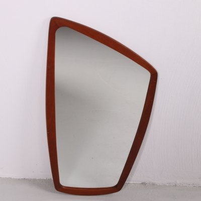 Asymmetrical Danish wall mirror with teak edge, 1960s
