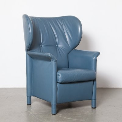 Blue leather armchair by Wittmann, 1980s