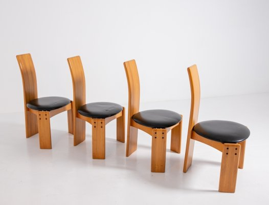 Set of four chairs by Afra & Tobia Scarpa in wood & leather, 1980s