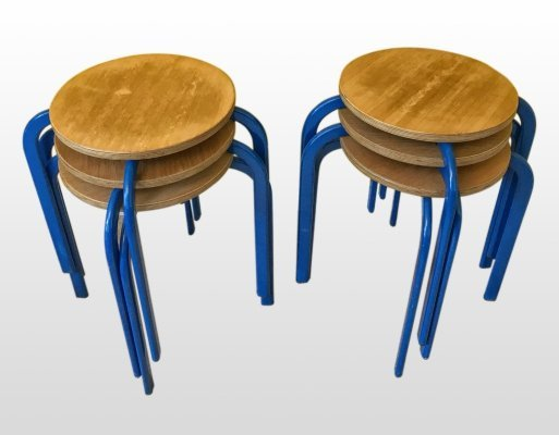 6 x Niels Larsen stacking stool, 1970s