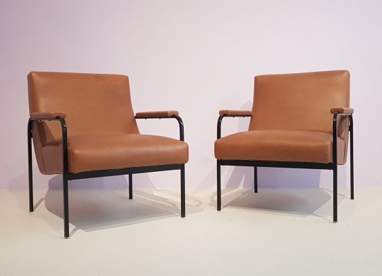 Pair of Memphis Easy Chairs by Pierre Guariche for Meurop, 1950s